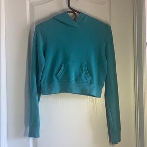 Teal Hoodie Crop Sweater